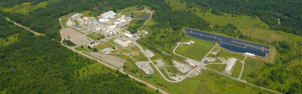 Aerial view of Main Plant Process Building, other structures and disposal areas