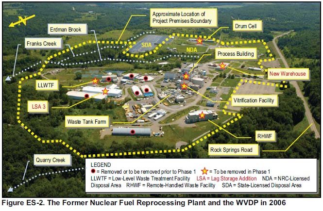 West Valley Demonstration Project bounds and facilities to be removed prior to or in Phase 1 decommissioning